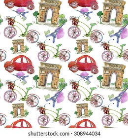 Paris landmark, watercolor seamless pattern. Watercolor stein.Vintage doodle.In French good travel,hello, Eiffel tower, arc de Triomphe, Moulin Rouge, bicicle and red car.