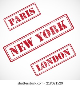 Paris, New York, London - collection of rubber stamps isolated on white background.