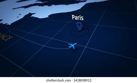 Paris on simple blue map. Plane symbol with trail over atlas chart with city marked by pushpin. Airplane icon on maps 3d illustration.