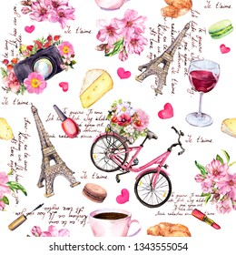"Paris pattern - Eiffel tower, flowers, bicycle, wine. French seamless design with ""I love you"" text in different languages. Hand painted illustration"