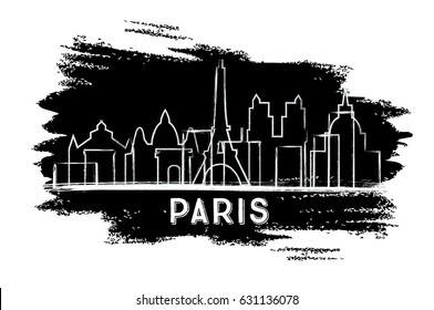 Paris Skyline Silhouette. Hand Drawn Sketch. Business Travel and Tourism Concept with Historic Architecture. Image for Presentation Banner Placard and Web Site.