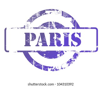 Paris stamp with copy space isolated on white background.