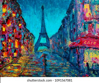 Paris street art painting