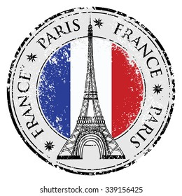 Paris town in France grunge flag stamp, eiffel tower illustration. Raster version.