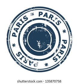 Paris travel stamp isolated on a white background.