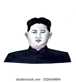 Paris/France - February 17, 2018: Watercolor raster illustration. Portrait of North Korean leader Kim Jong Un.