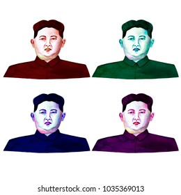 Paris/France - February 28, 2018: Watercolor raster illustration. Set of portraits of North Korean leader Kim Jong Un. Isolated images on white background.