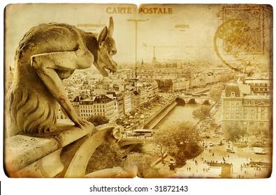Parisian retro cards series - Notre dame