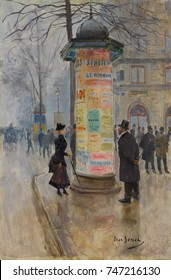 Parisian Street Scene, by Jean Beraud, 1885, French impressionistic painting, oil on canvas. Beraud painted Parisian street life in an academic style influenced by impressionism. His works were popula