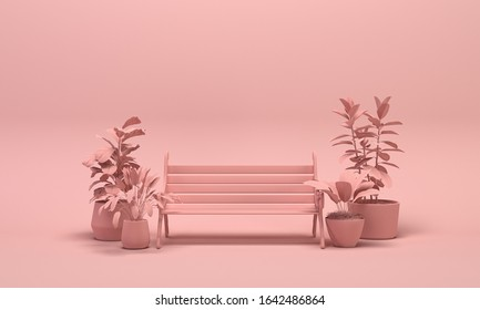 Park bench and plants in plain monochrome light pink color. Light background with copy space. 3D rendering for web page, presentation or picture frame backgrounds.
