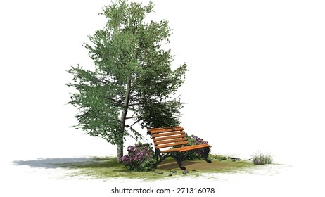 Park bench under tree in summer - separated on white background