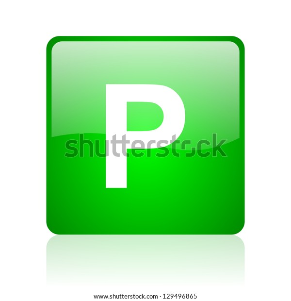 park green square web icon on white background
