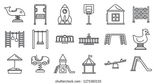 Park kid playground icon set. Outline set of park kid playground icons for web design isolated on white background