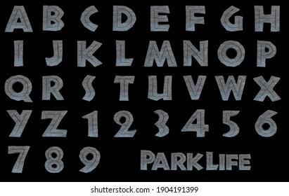 Park Life Stone rock Alphabet - 3D Illustration