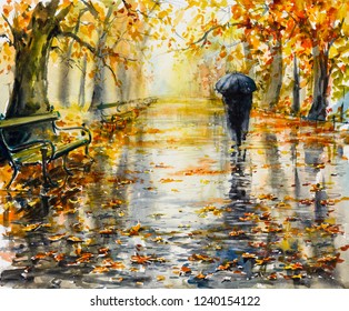 Park in rainy autumn day. Picture created with watercolors.