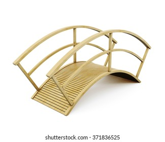 Park wooden bridge isolated on a white background. 3d rendering.