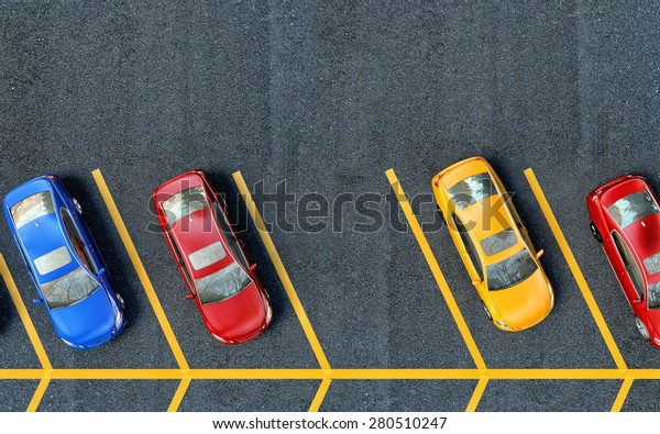 Parked cars on the parking. One place is free