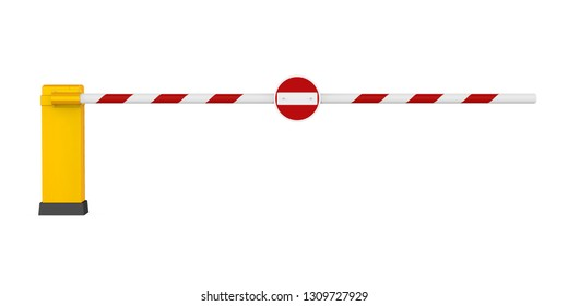 Parking Gate Barrier Isolated. 3D rendering