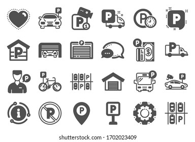 Parking icons. Car garage, Valet servant and Paid transport parking icons. Video monitoring, Bike or Car park and Truck or Bus transport garage. Money payment, Map pointer and Free park.