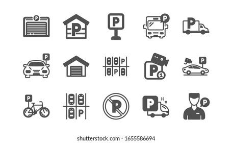 Parking icons. Garage, Valet servant and Paid parking. Car transport park place classic icon set. Quality set.