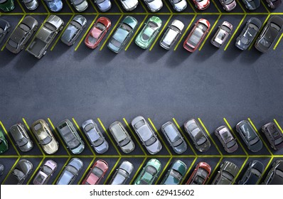 parking lot; 3d illustration