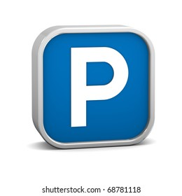 Parking sign on a white background. Part of a series.