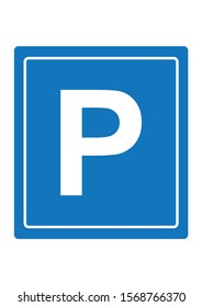Parking lot signs are blue in white lines