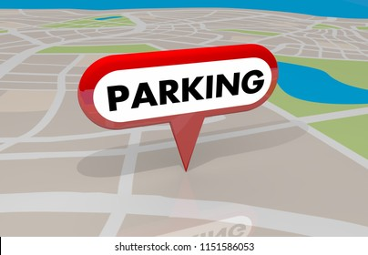 Parking Lot Spaces Designated Area Map Pin 3d Illustration
