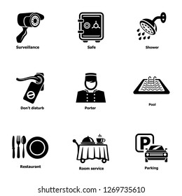 Parking spot icons set. Simple set of 9 parking spot icons for web isolated on white background