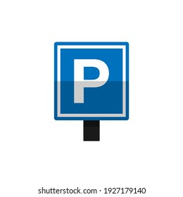 Parking zone sign icon. Vehicle parking sign board.