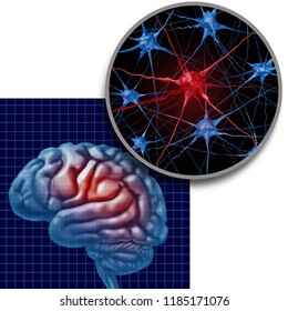 Parkinson brain anatomy concept parkinsons patient disease and parkinson disorder with neurons close up representing health loss and elderly degenerative neurology illness in a 3D illustration style.
