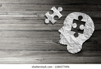 Parkinson disease and parkinson's disorder symptoms as a human head made of crumpled paper with a missing jigsaw puzzle representing elderly degenerative neurology illness in a 3D illustration style.