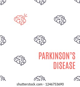 Parkinson's disease poster. Pattern of healthy brain icons with one organ affected by the illness. Side view body anatomy sign. Degenerative disorder of the central nervous system illustration.