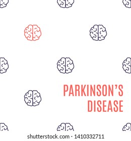 Parkinson's disease poster. Pattern of healthy brain icons with one organ affected by the illness. Top view body anatomy sign. Degenerative disorder of the central nervous system illustration.