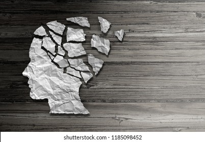 Parkinsons patient disease and parkinson disorder as a human head made of crumpled paper with broken pieces representing health loss and elderly degenerative illness in a 3D illustration style.