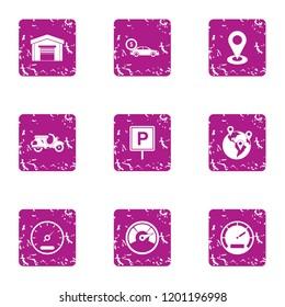Parkland business icons set. Grunge set of 9 parkland business icons for web isolated on white background