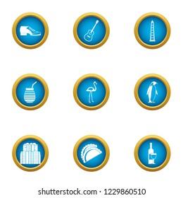 Parkland icons set. Flat set of 9 parkland icons for web isolated on white background