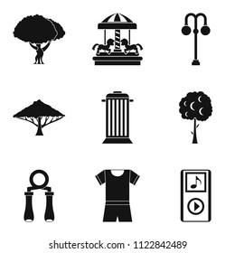 Parkland icons set. Simple set of 9 parkland icons for web isolated on white background