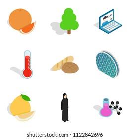 Parkland leisure icons set. Isometric set of 9 parkland leisure icons for web isolated on white background