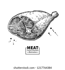 Parma ham drawing. Hand drawn hamon meat illustration. Italian prosciutto or jamon vintage sketch. Engraved food object. Butcher shop product. Great for label, restaurant menu.