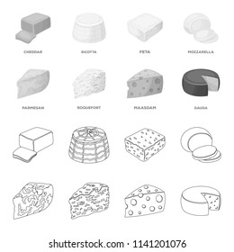 Parmesan, roquefort, maasdam, gauda.Different types of cheese set collection icons in outline,monochrome style bitmap symbol stock illustration web.