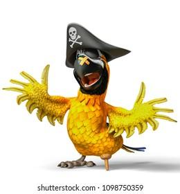 parrot pirate cartoon 3d illustration