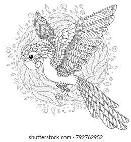 Parrot. Tropical bird.  Coloring book for adult and older children. Coloring page. Outline drawing.