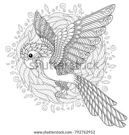 Parrot Tropical Bird Coloring Book Adult Stockillustration 792762952 ...