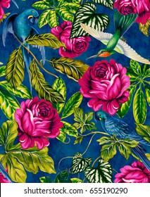parrots in jungle. seamless tropical pattern