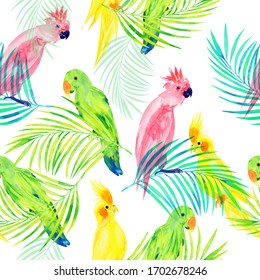 Parrots on palm tree branches seamless pattern, watercolor print with birds on a white background.