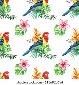Parrots and tropical jungle leaves, tree, beautiful seamless floral pattern background, exotic print, wallpaper.