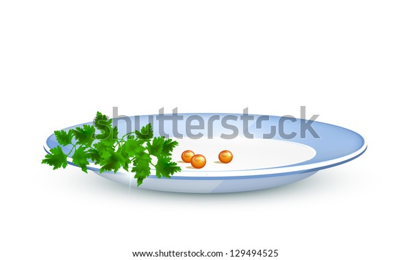 Parsley and red caviar on a plate. Raster version.