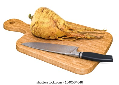 Parsnip or pastinaca sativa lies on a wooden board next to a knife, 3D rendering isolated on white background