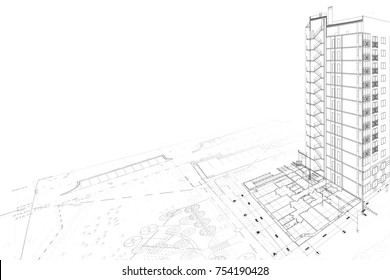 Part of architectural project on the white background. Section, plan and landscape